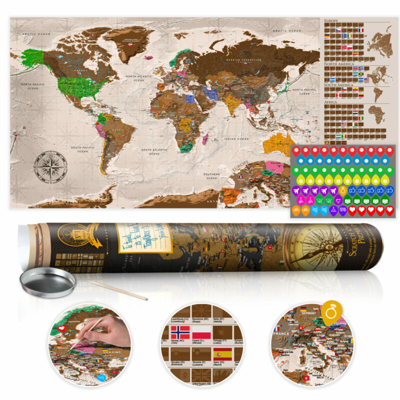 """Scratch Off World Map 39""""x17"""" Wall Poster Map for Scratching Travel k-A-0225-o-b"""