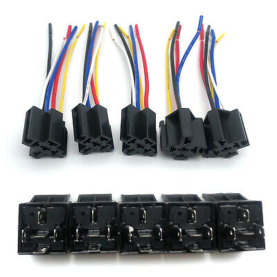 5 Pieces 12 Volt 3040 Amp Spdt Automotive Relay With Wires Harness Socket