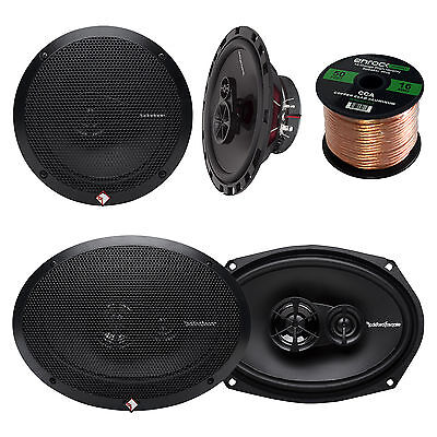 """2x Rockford Fosgate 6.5"""" and 2x 6x9"""" inch 3-Way Car Coaxial Speaker, + 50Ft Wire"""