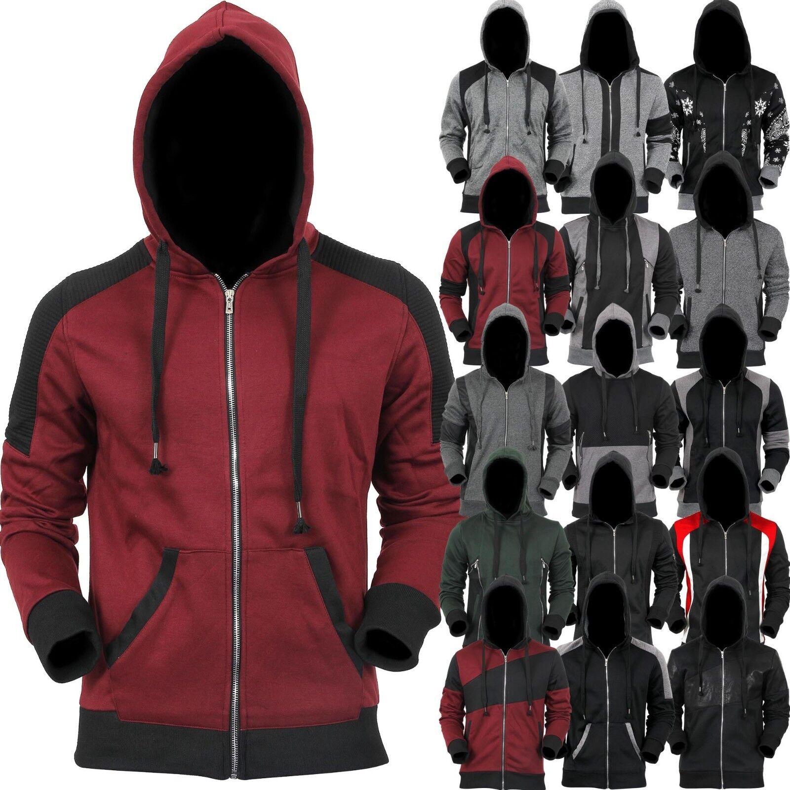 Mens Zip Up HOODIE Fleece Full Zipper Jacket Soft Sweater Pu