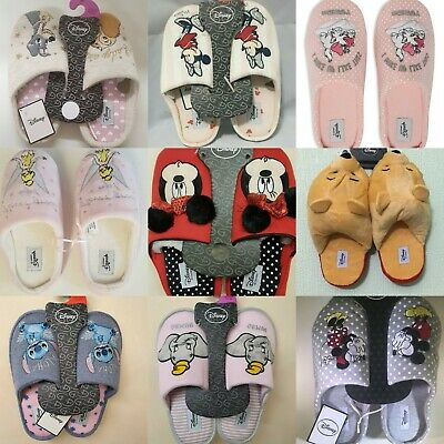 Disney Character Slippers Printed Embroidered Cosy Nightwear Ladies Gift (Disney Character Slippers)