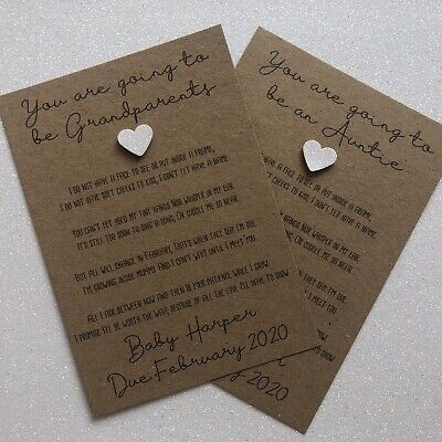 Personalised Any Relation Baby Pregnancy Announcement Poem Card + Envelope