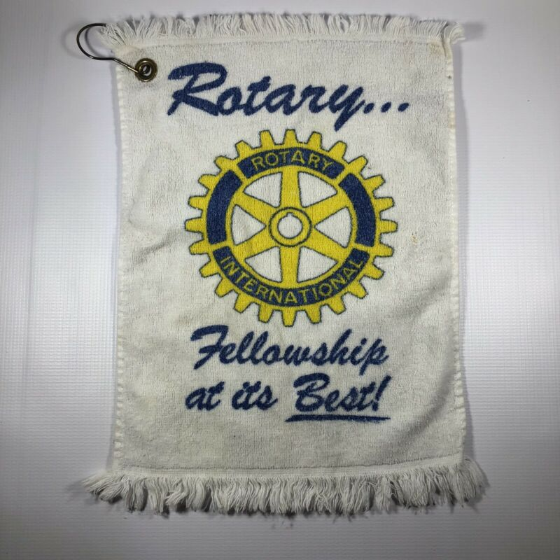 "Rotary International White Hand Towel Bar Towel ""Fellowship At Its Best"" 10""x16"""