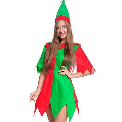 Kostüm Elf Damen 2tlg Mädchen Fee Elfe Fancy Dress Weihnachtself Zwerg Karneval