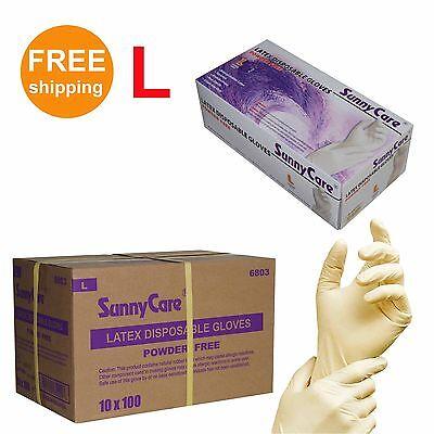 1000cs Latex Disposable Gloves Powder Free Non Vinyl Nitrile Exam Size Large