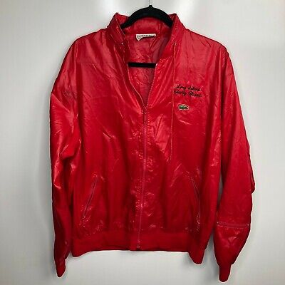 Izod Lacoste Windbreaker Jacket Men's XL Red Full Zip Convertible Hood Vtg