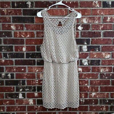 Free People Women's Size S Beige Knit Crochet Sleeveless Dress Lined