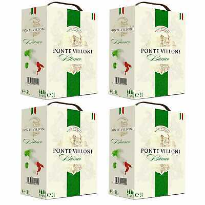 4x Bag-in-Box Italienischer Weißwein lieblich BiB 3L - Ponte Villoni, Italien