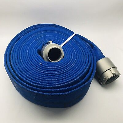 Northeast 50ft Blue Double Jacket Fire Hose Full Flow 3 Aluminum Fittings