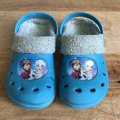 DISNEY Frozen ❄️ Elsa & Anna Mädchen Hausschuhe Clogs Blau Gr. 24 25