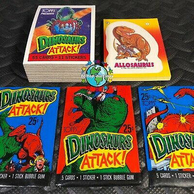TOPPS 1987 DINOSAURS ATTACK COMPLETE 55-CARD + 11-STICKERS SET +3X WAX WRAPPERS!