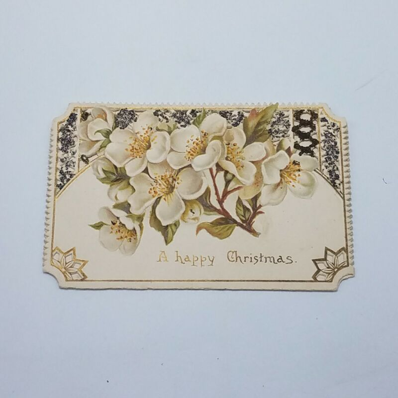 C 1900 CHRISTMAS Victorian Floral ANTIQUE Card Embossed FLOWERS Happy Christmas