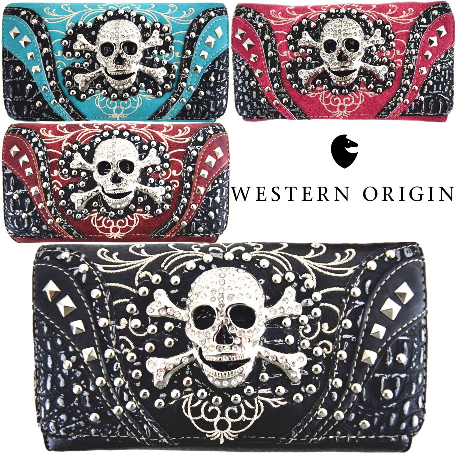Western Style Sugar Skull Studded Purse Single Shoulder Bags
