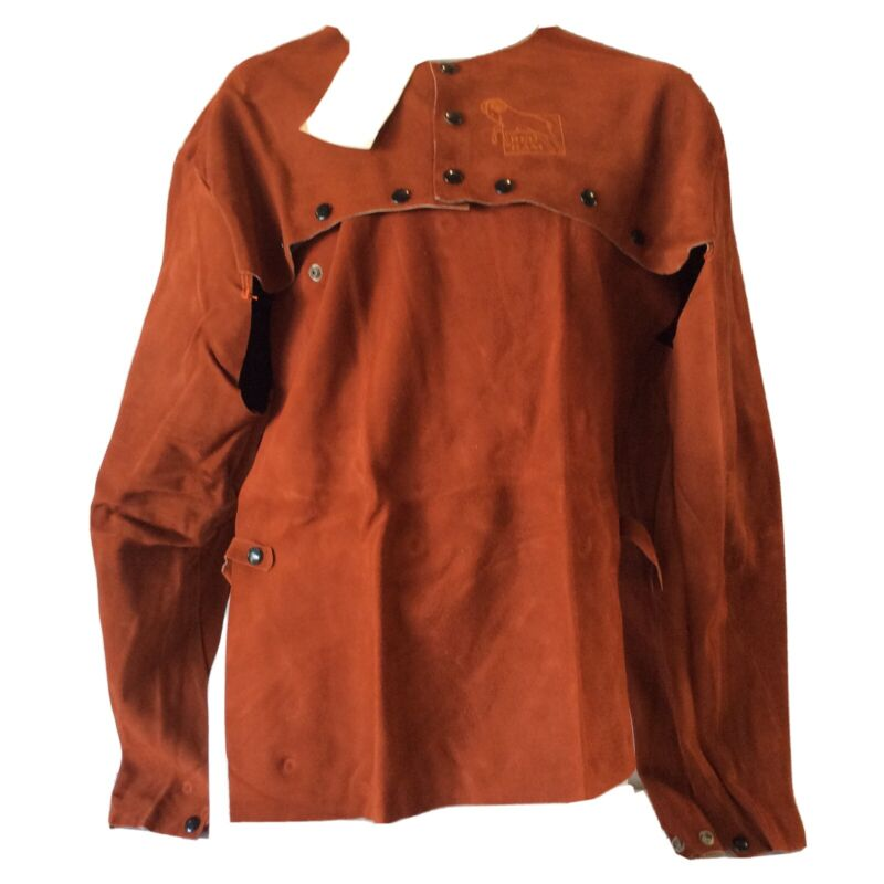Red Ram Leather Welding Cape Sleeve and Bib Orange Suede Snap Closure XL RR21