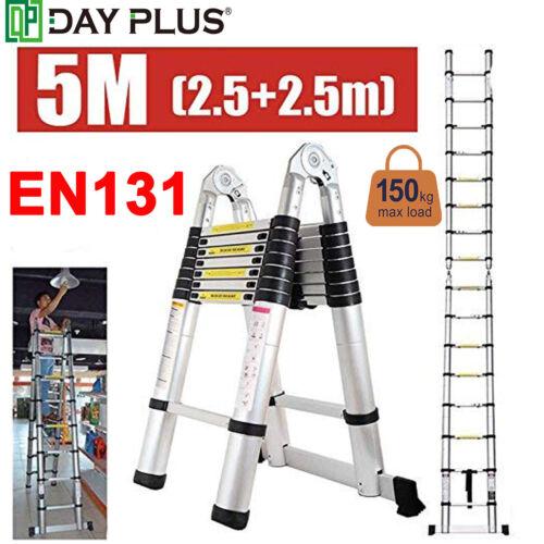 16.5FT Telescopic Extension Aluminum Loft Step Ladder Foldin