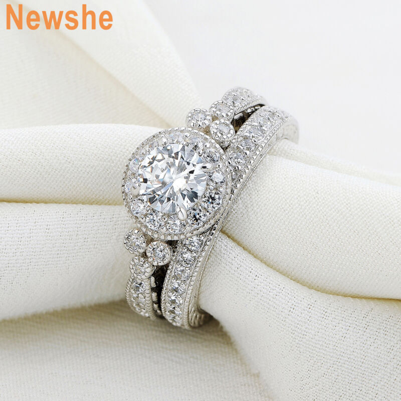 Newshe Wedding Engagement Ring Set Round White Aaa Cz 925 Sterling Silver 5-10