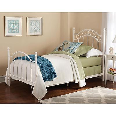 Bedroom Furniture White Metal Bed Frame Headboard Footboard Iron Twin Size