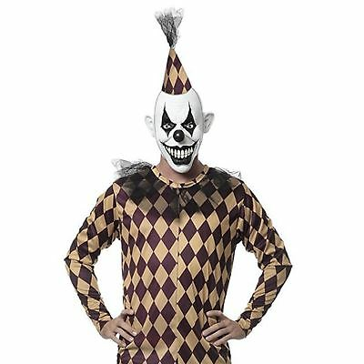 Adult Mens Scary Evil Clown Purge Halloween Checkered Full Costume Mask Jumpsuit - Full Clown Costume