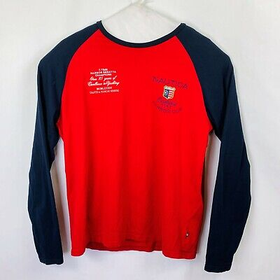 Nautica Long Sleeved Embroidered Graphic Tee Men's Size XL