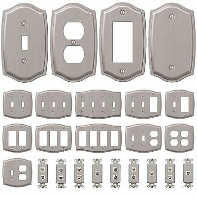 Wall Switch Plate Outlet Cover Toggle Duplex Outlet GFCI Rocker – Brushed Nickel Electrical Outlets, Switches & Accessories