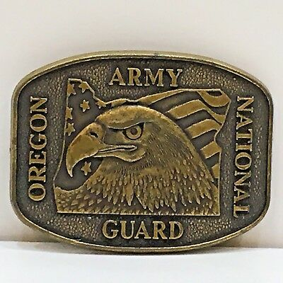 Oregon Army National Guard Military Belt Buckle with Eagle, Used no Box