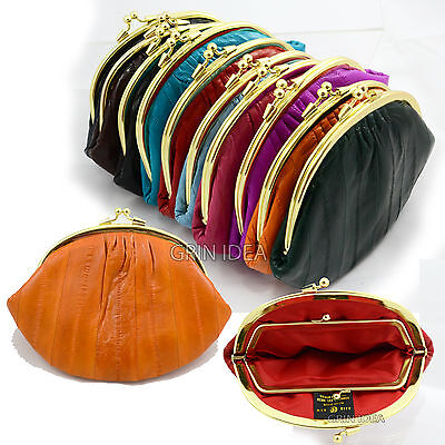 - Large DOUBLE Genuine EEL SKIN LEATHER COIN PURSE Snap Closure Wallet