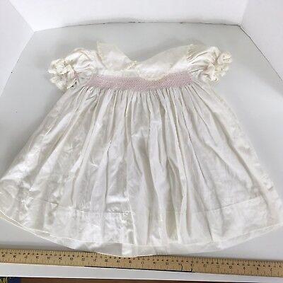Vintage Baby Girl Dress White Smocked Smocking Pink Ruffles Fancy 3 6 9 month