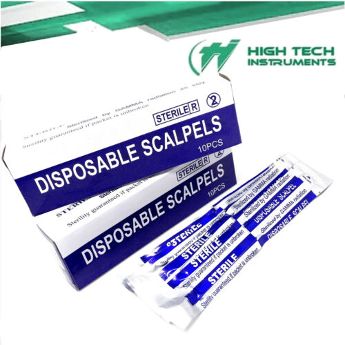 Disposable Scalpel Blades With Plastic Handle ( Box of 10 ) Sterile Surgical