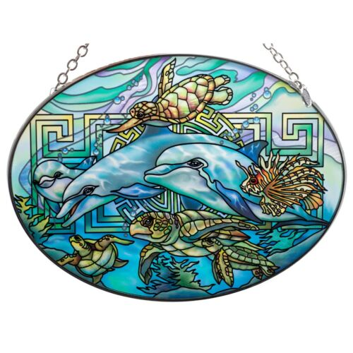 """Dolphins & Sea Turtles Suncatcher Hand Painted Glass By AMIA Studios 7"""" x 5"""""""