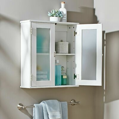 Bathroom Medicine Cabinet Wall Mounted Large Storage White Adjustable Shelf NEW - Large Bathroom Medicine Cabinet