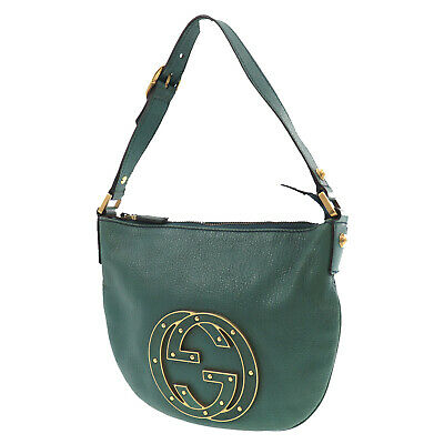 GUCCI GG Logos Shoulder Hand Bag Green Leather Vintage Italy Authentic #KK798 O