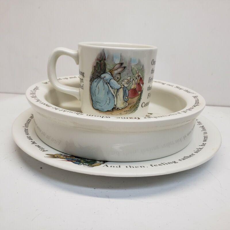 Wedgwood of Etruria & Barlaston England Beatrix Potter Peter Rabbit Child Set