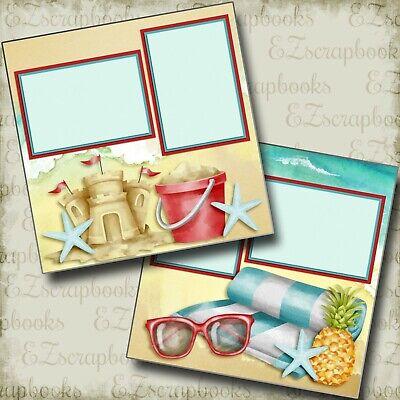 SANDCASTLES & SUNGLASSES - 2 Premade Scrapbook Pages - EZ Layout (Sunglasses Layout)