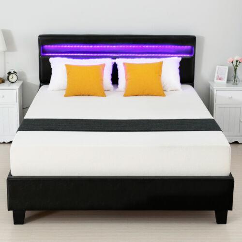 Modern Queen Leather Upholstered Platform Metal Bed Frame w/