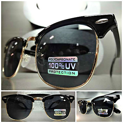 CLASSIC VINTAGE 60's RETRO Style SUN GLASSES Black Gold Fashion Frame Smoke Lens