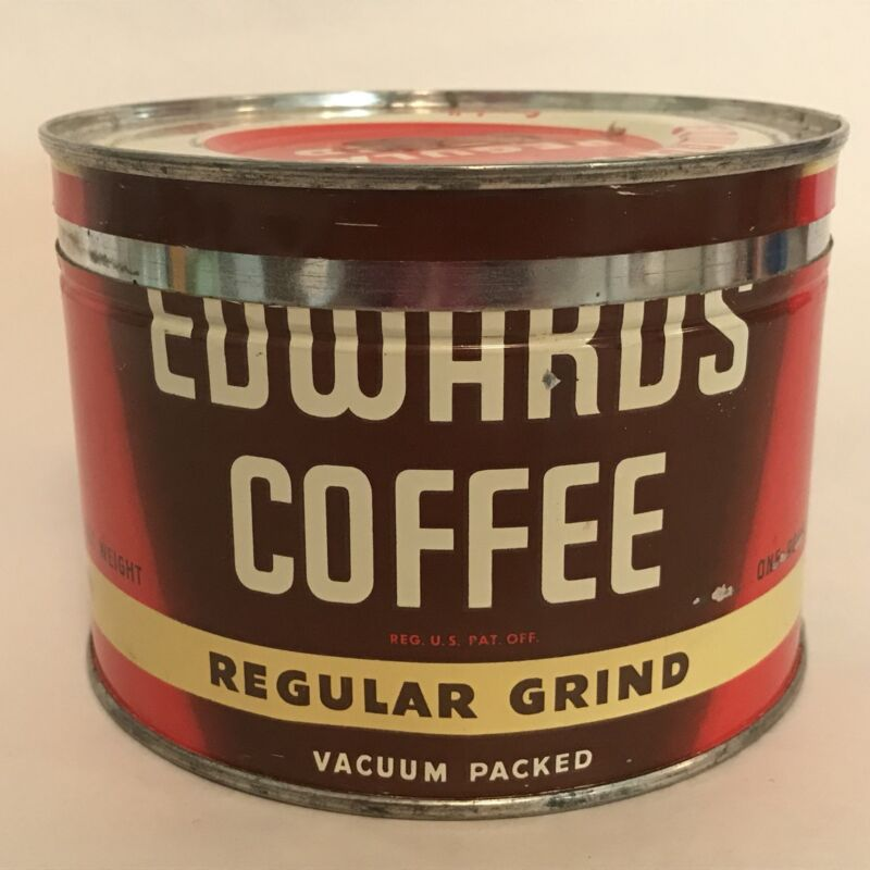 Vintage Edwards Coffee Tin 1 Lb Key Can With Lid Coffee Z13