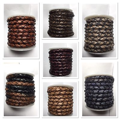 Genuine Leather Round Bolo Braided Leather Cord 4 mm 1 Yard 17 Colors Choice Genuine Round Leather Cord