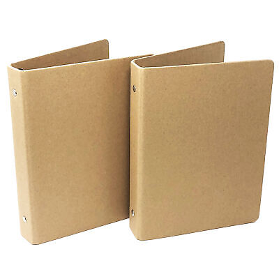 2pcs Kraft Paper 6 Round Ring Thick Hard Cover Protector Binder A5 Size
