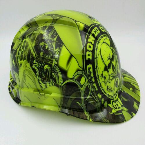 Hard Hat custom hydro dipped , OSHA approved BAD BONES CLUB LIME GREEN 2