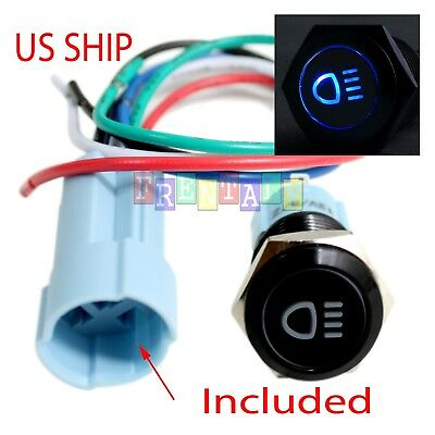 Bsf 16mm Blue Driving Led 12v Latching Push Button Power Switch Waterproof