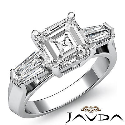 3 Stone Flashy Asscher Cut Diamond Engagement Ring GIA G SI1 Platinum 950 1.5 ct