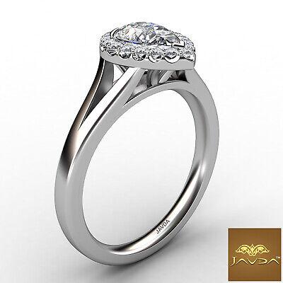 French U Pave Halo Split Shank Pear Cut Diamond Engagement Ring GIA H VS1 0.7Ct 2