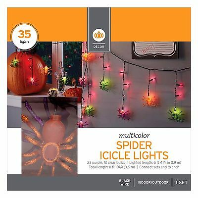 Halloween Icicle Lights (New ! 35 Multicolor Halloween Spider Icicle Lights - 11 Foot Length Black Wire)
