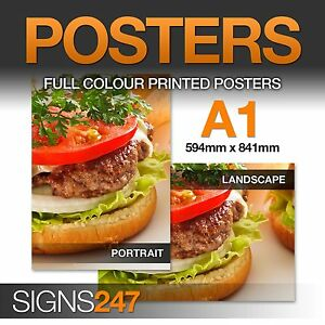 A1 Poster Printing - Full colour LAMINATED WATERPROOF POSTER - 50% OFF