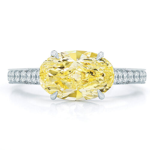 18K Gold GIA Certified 2.75 CTW Oval cut Diamond Engagement Ring Fancy Yellow