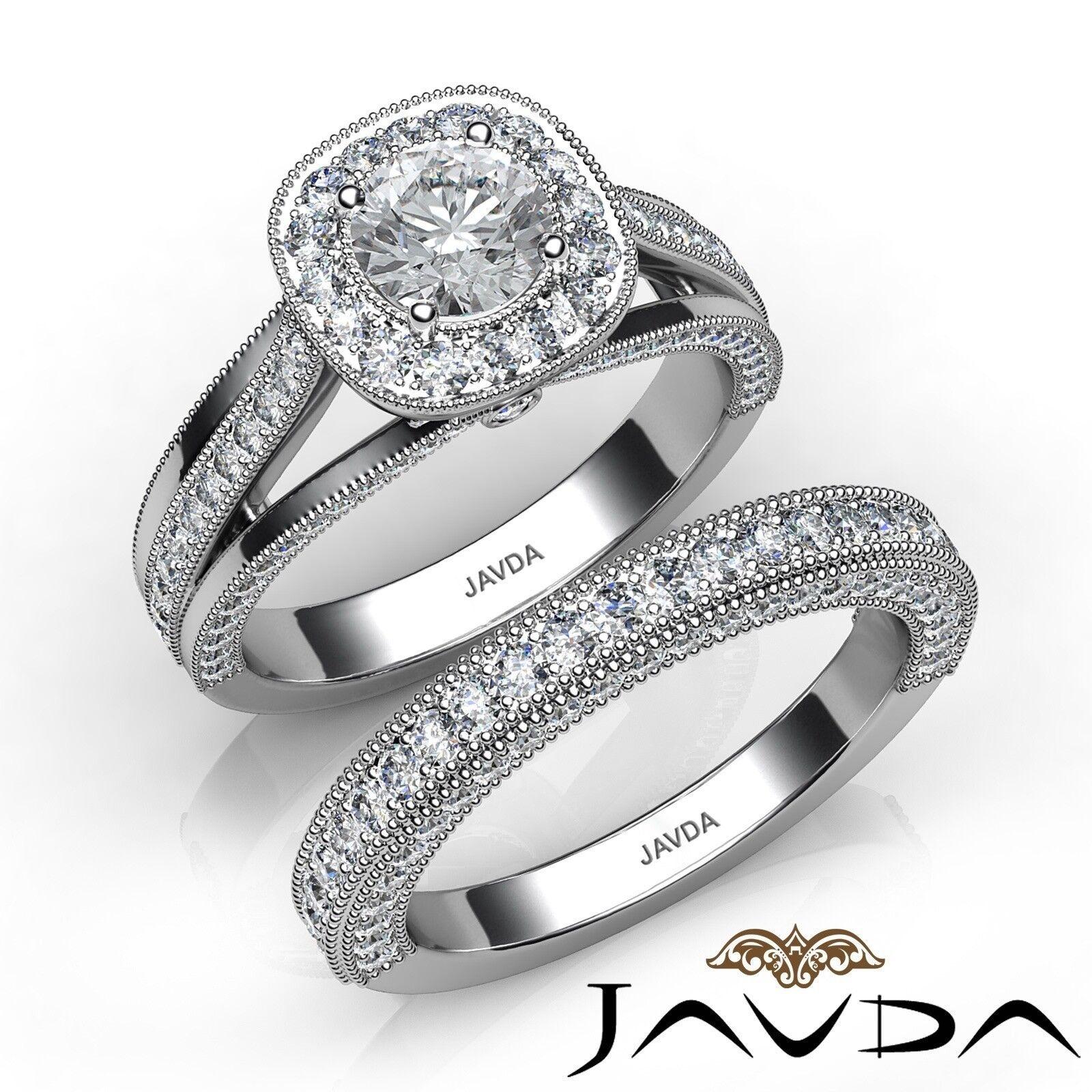 2.1ct Milgrain Bridal Set Halo Pave Round Diamond Engagement Ring GIA F-VS1 Gold