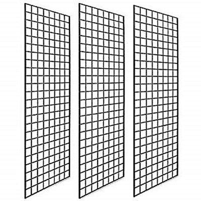 Commercial Grade Black Gridwall Panels 2x7 - 3pk