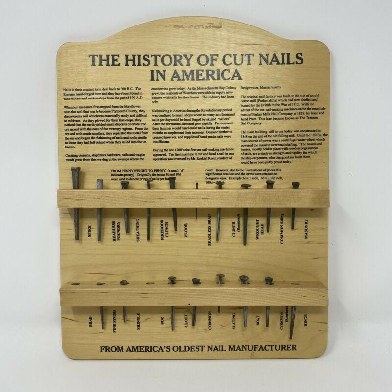 VTG History of Cut Nails in America Plaque Tremont Nail Company Missing 1 Nail