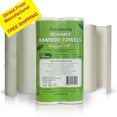 Bamboo Reusable Paper Towels - Washable Extra Absorbent Recycled Eco-Friendly Eco Friendly Paper Towels