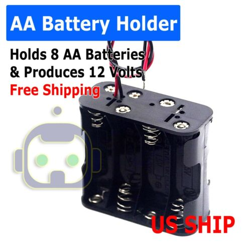 8-AA Battery Spring Clip Holder Case Plastic Box Tow Layers Stacked Wires 12V